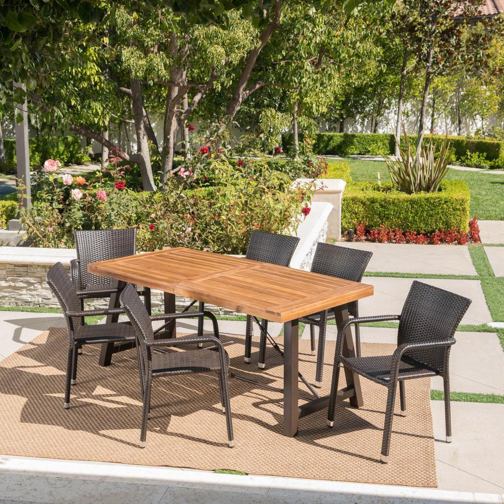 Spencer Multi-Brown 7-Piece Wicker Outdoor Dining Set