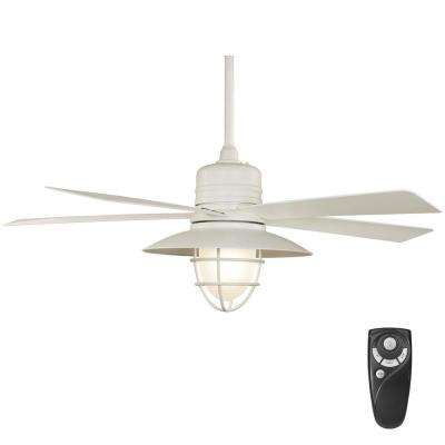 Grayton 54 in led indoor outdoor white ceiling fan with frosted glass shade