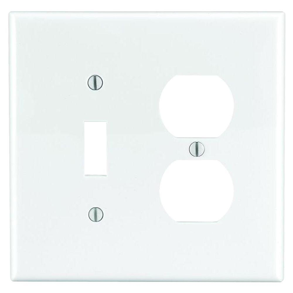 LEVITON 2-Gang Midway 1-Toggle 1-Duplex Combination Nylon Wall Plate, White