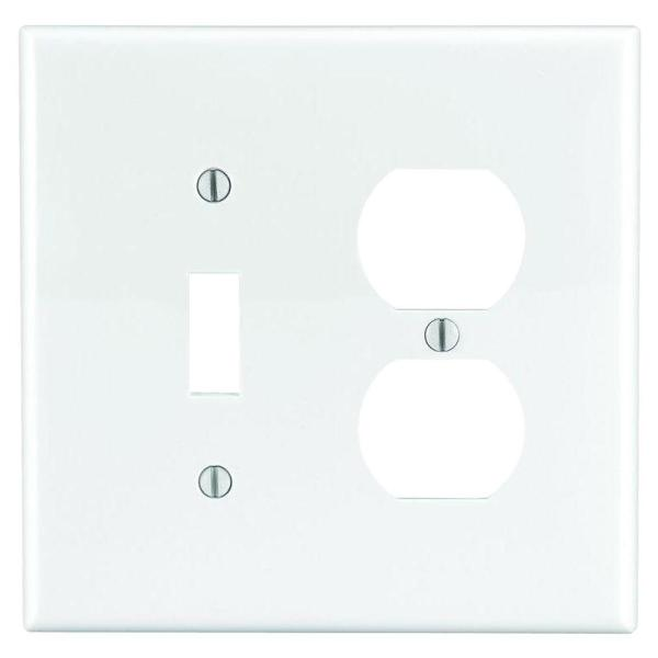 White 2-Gang 1-Toggle/1-Duplex Wall Plate (1-Pack)