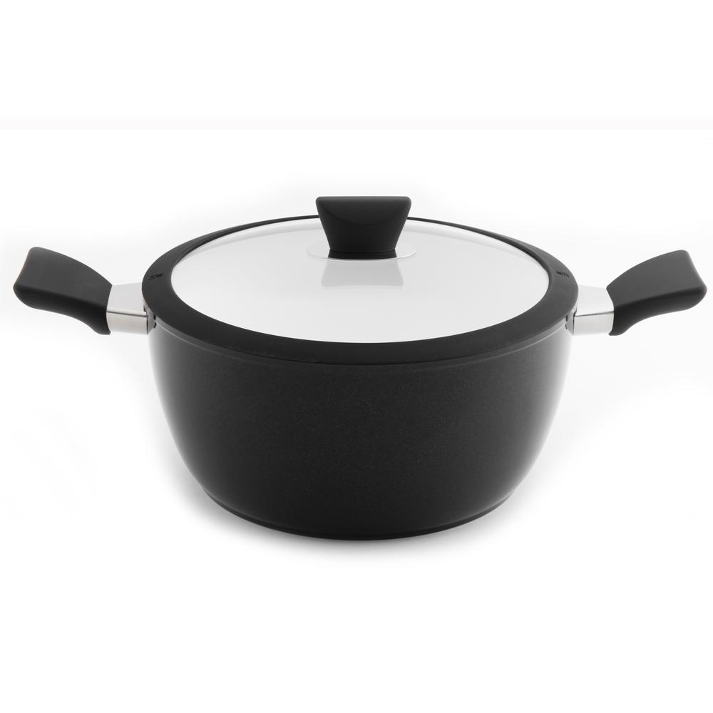 Eclipse 4.9 Qt. Aluminum Non-Stick Black and White Stock Pot