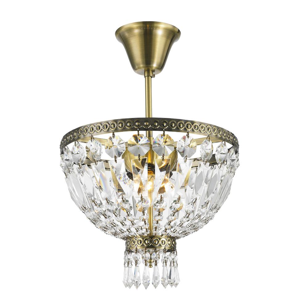 Worldwide Lighting Metropolitan Collection 1-Light Antique Bronze and Clear Crystal Semi-Flush Mount Light