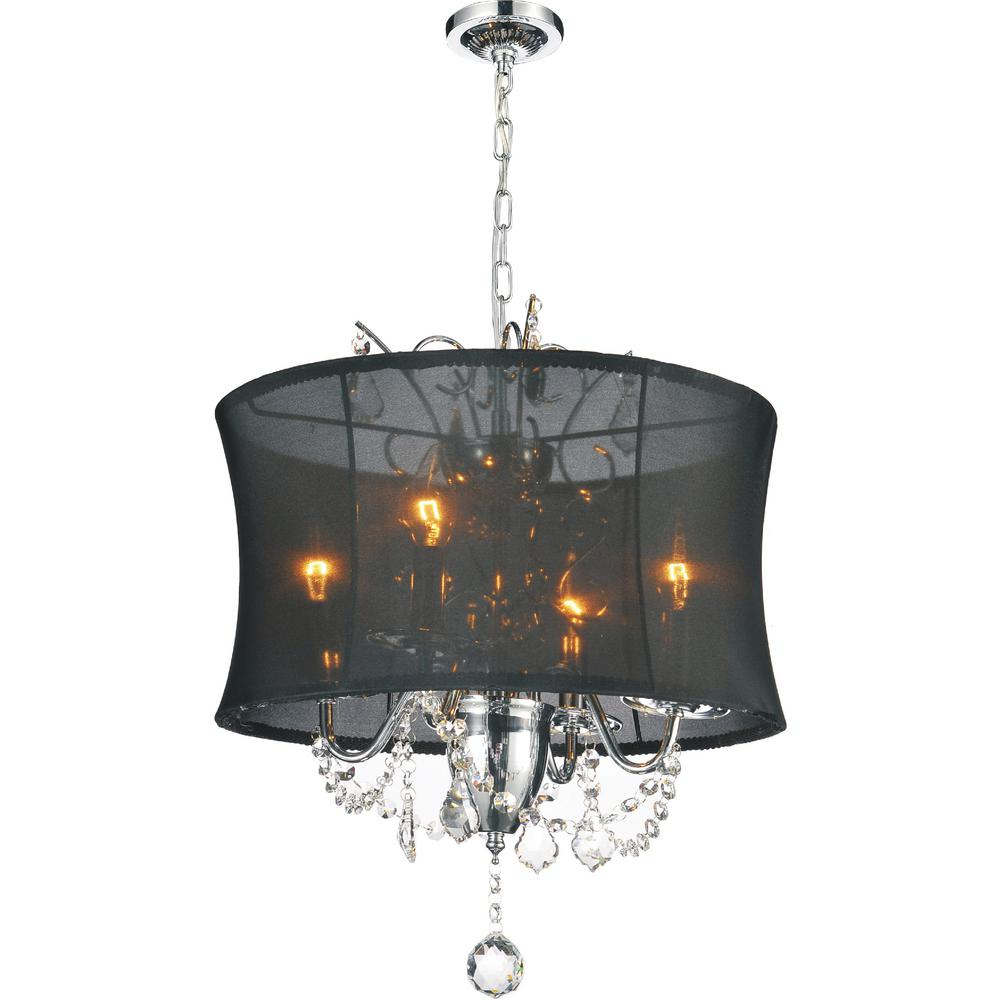 Charlotte 4-Light Chrome Chandelier with Black shade