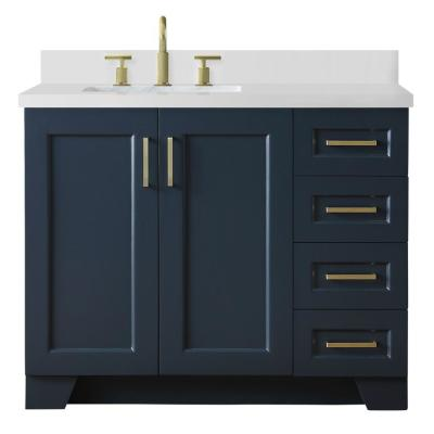 43 in. W x 22 in. D Bath Vanity in Midnight Blue with Quartz Vanity Top in White w Left Offset White Rectangle Basin