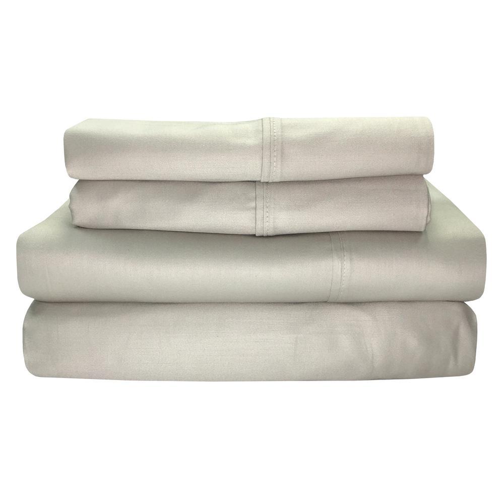 Siesta 4-Piece Linen Solid 300 Thread Count Cotton Full Sheet Set