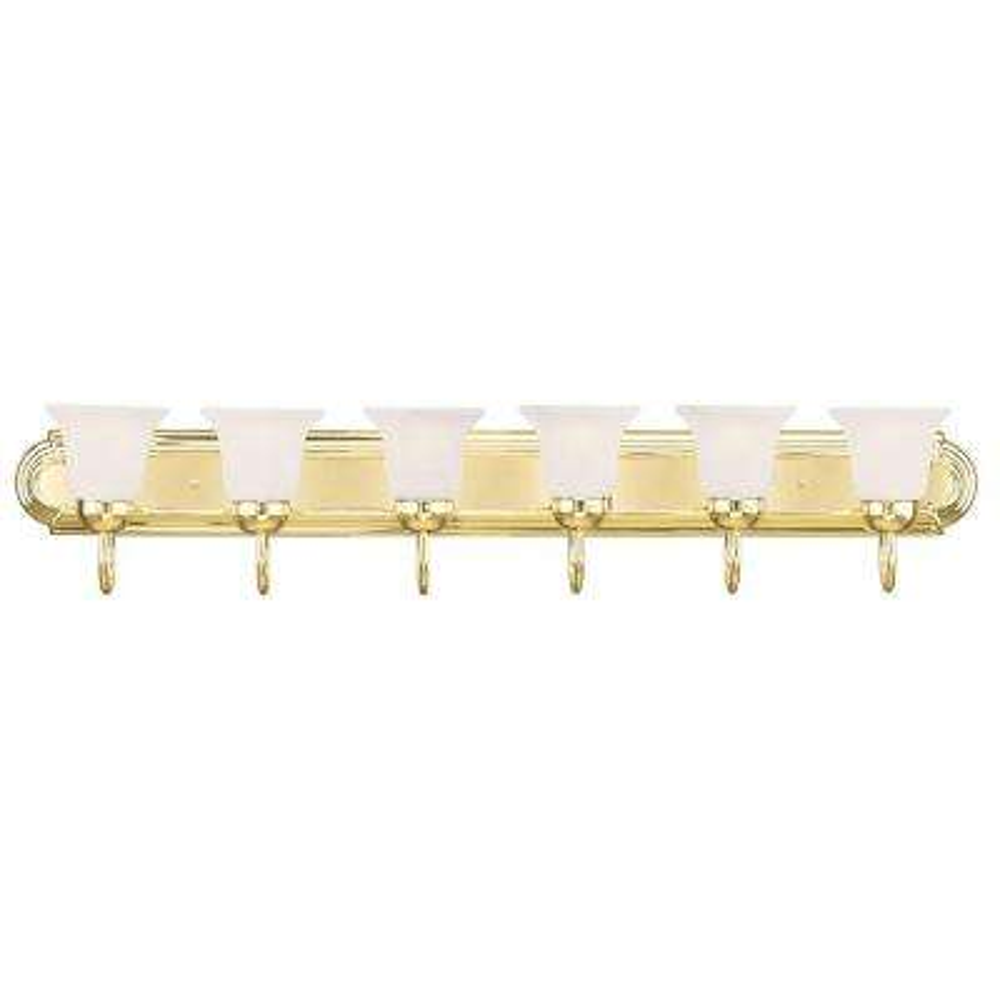 6-Light Polished Brass Bath Light with White Alabaster Glass