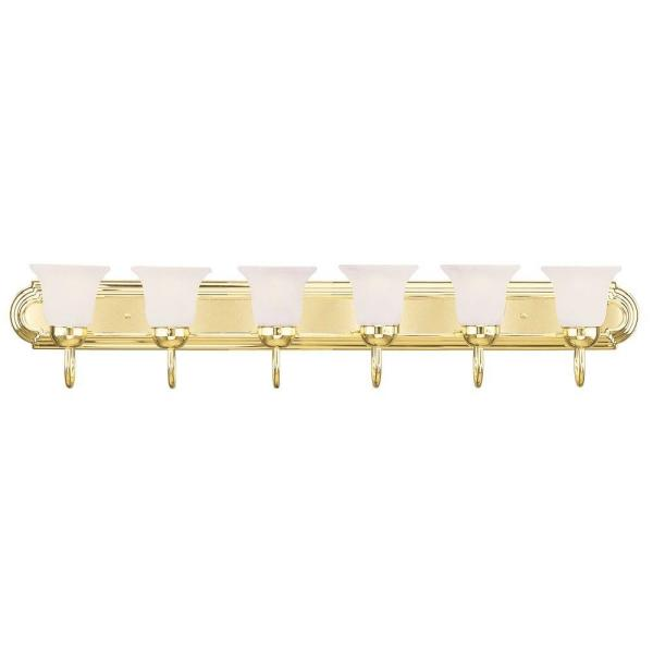 6-Light Polished Brass Bath Light with White Alabaster Glass