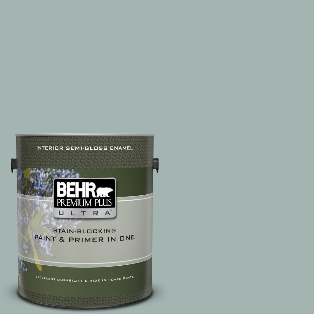 BEHR Premium Plus Ultra 1 gal. #UL220-15 Frozen Pond Semi-Gloss Enamel Interior Paint and Primer in One