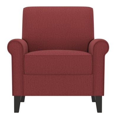 Jean Cranberry Red Herringbone Upholstered Rolled Arm Chair