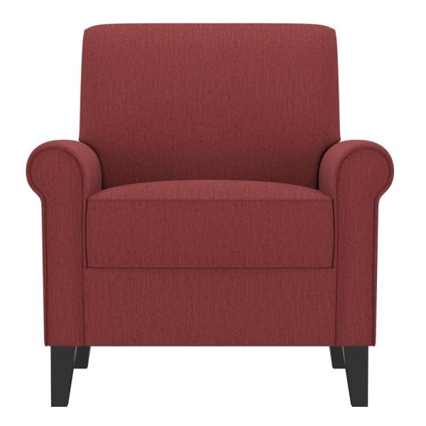 Handy Living Jean Cranberry Red Herringbone Upholstered Rolled Arm Chair