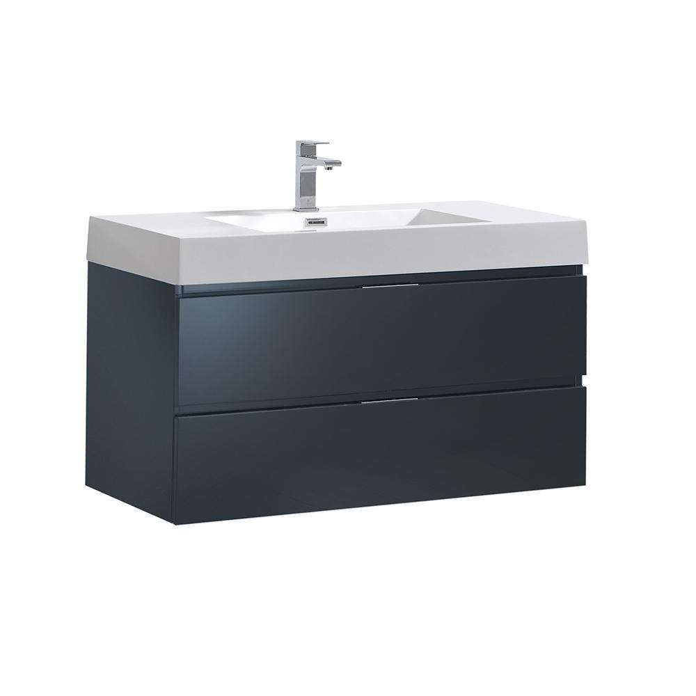 W Wall Hung Bathroom Vanity In Dark Slate