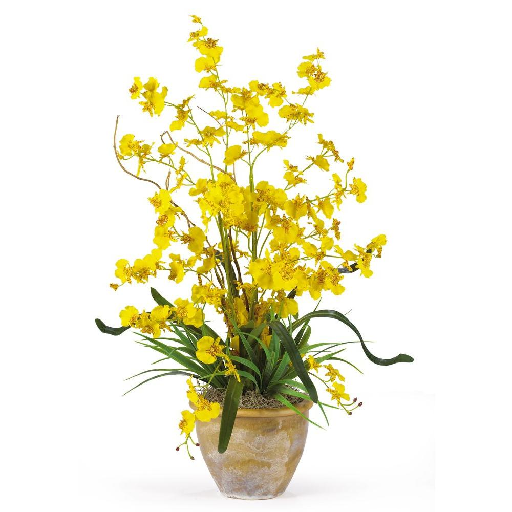 Yellow artificial flowers artificial plants flowers the home dancing lady silk orchid flower arrangement mightylinksfo Gallery