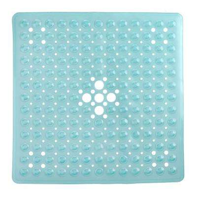 21 in. x 21 in. Square Shower Mat in Aqua