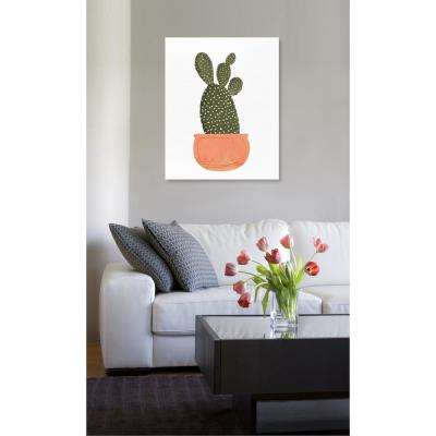 "20 in. x 17 in. W ""Cactus Coral II"" Printed Framed Canvas Wall Art"