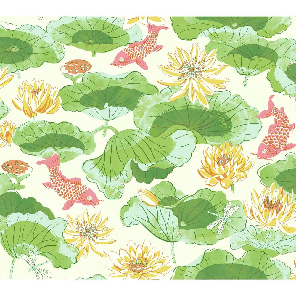 York Wallcoverings Waverly Classics II Lotus Lake Removable Wallpaper