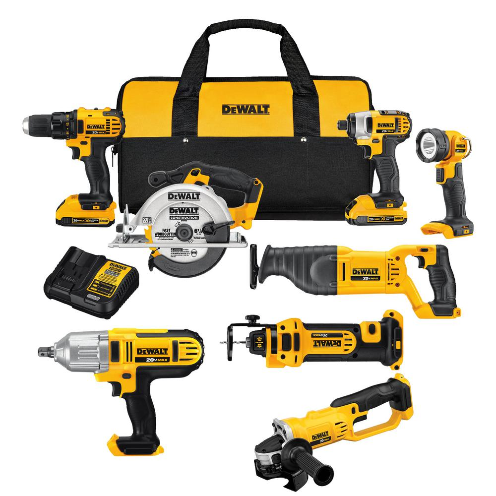 20-Volt MAX Lithium-Ion Cordless Combo Kit (8-Tool) with (2) 20-Volt Batteries