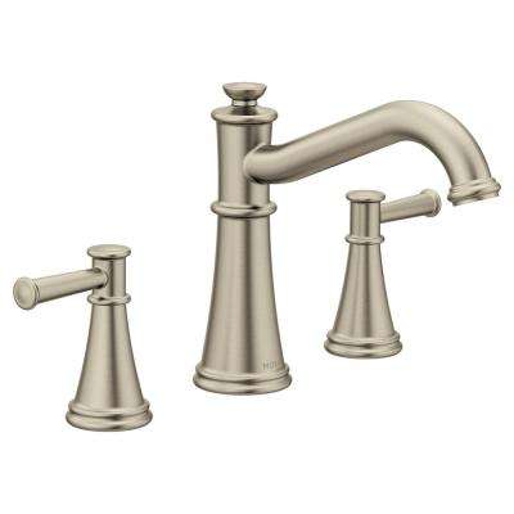 Belfield 2-Handle Deck-Mount Roman Tub Faucet in Brushed Nickel (Valve Not Included)