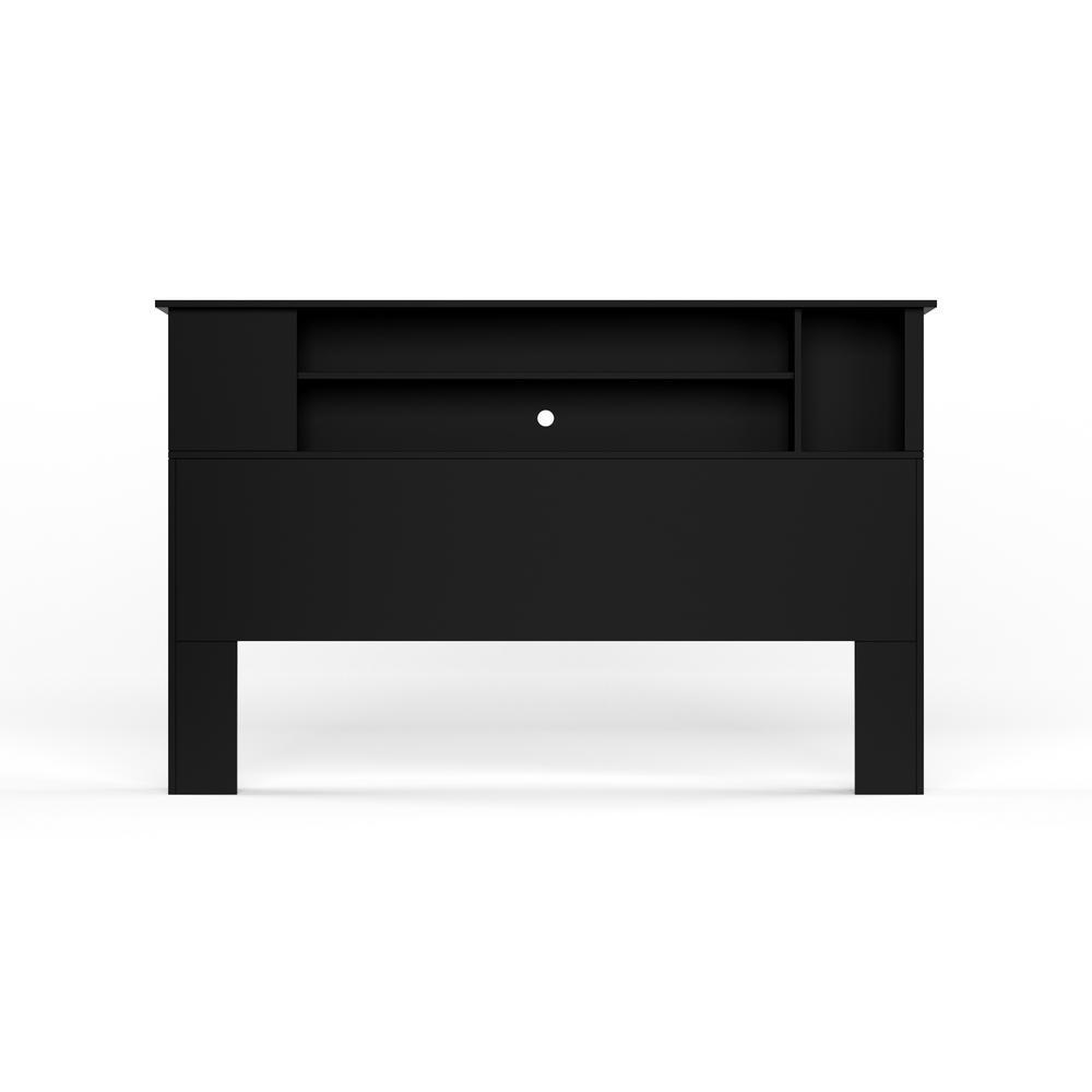 South Shore Vito Full/Queen-Size Bookcase Headboard in Pure Black
