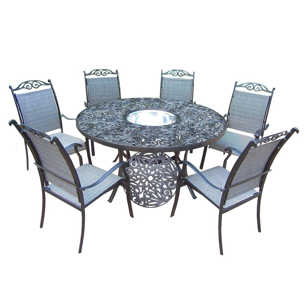 Prime 8 Piece Aluminum Outdoor Dining Set With Stainless Steel Ice Bucket Machost Co Dining Chair Design Ideas Machostcouk