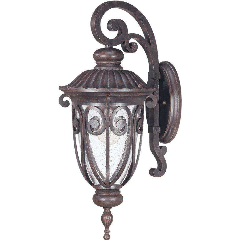 Glomar 1-Light Outdoor Burlwood Mid-Size Wall Lantern Arm Down with Seeded Glass