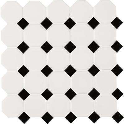 White And Black Octagon 12 In X 6mm Porcelain Mesh