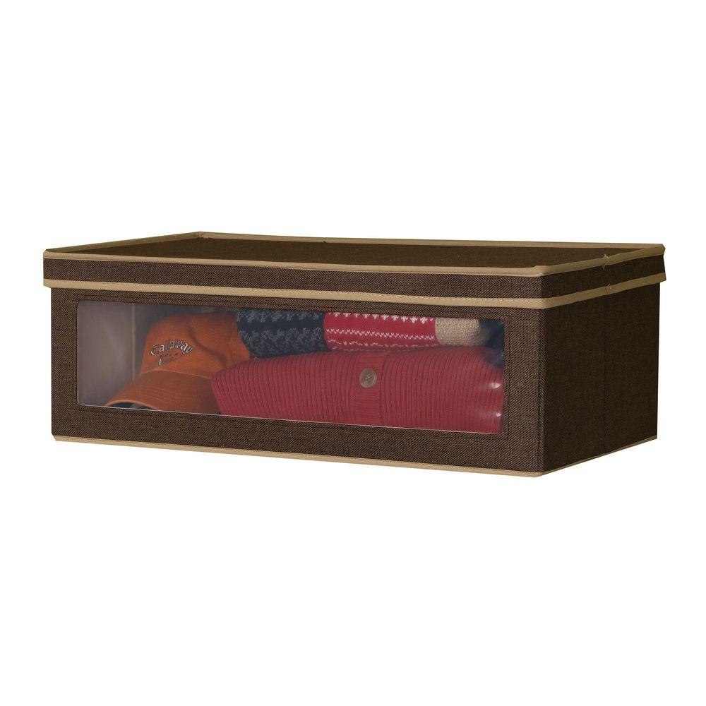 Household Essentials 24.25 in. x 13.25 in. Coffee Linen-Look Large Vision Box