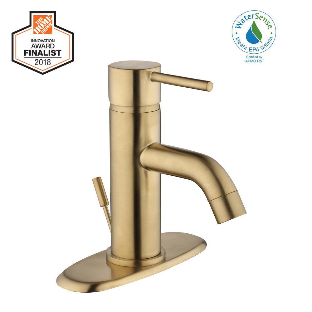 Glacier Bay Modern Single Hole Single-Handle Low-Arc Bathroom Faucet in Matte Gold