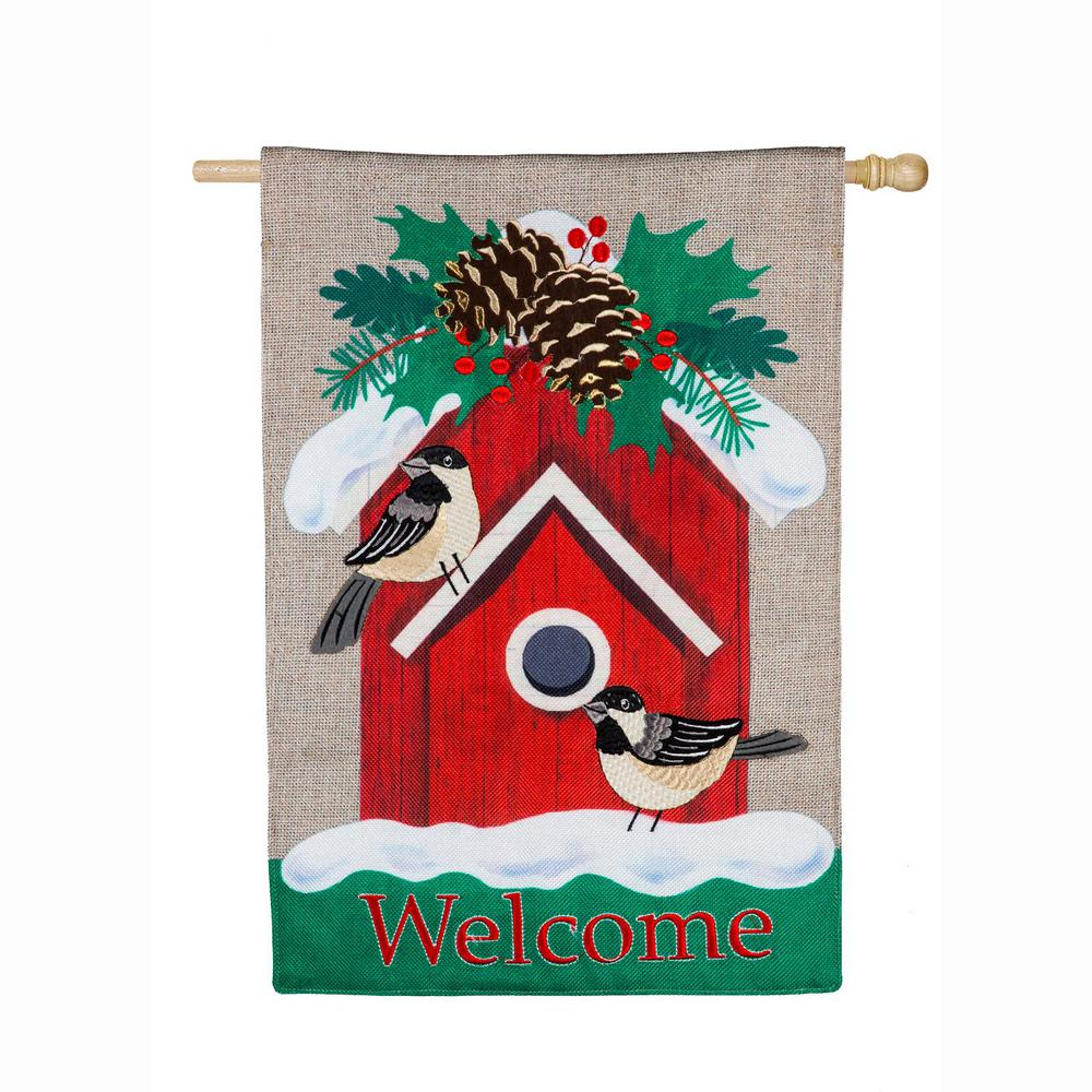 Evergreen 28 in. x 44 in. Holiday Chickadee Birdhouse House Burlap Flag