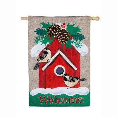 28 in. x 44 in. Holiday Chickadee Birdhouse House Burlap Flag