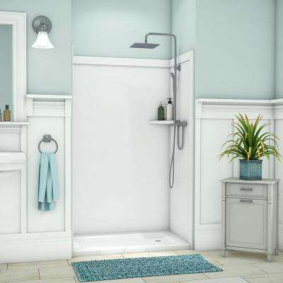 Elegance 36 in. x 48 in. x 80 in. 9-Piece Easy Up Adhesive Alcove Shower Wall Surround in White