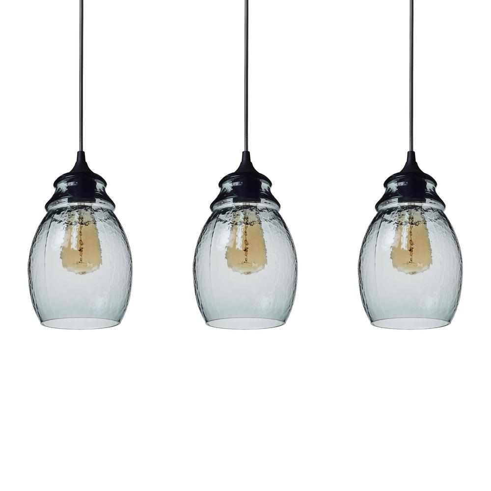 Casamotion 11 In H 1 Light Black Hammered Gl Pendant With Blue Shade Pack Of 3 Lights