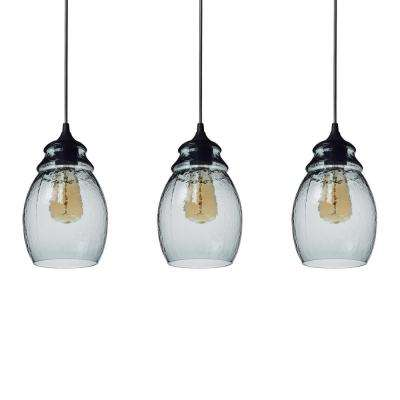 11 in. H 1-Light Black Hammered Glass Pendant with Blue Glass Shade Pack of 3 Pendant Lights