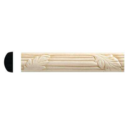 1167-8 3/8 in. x 7/8 in. x 96 in. White Hardwood Embossed Oak Leaf Moulding