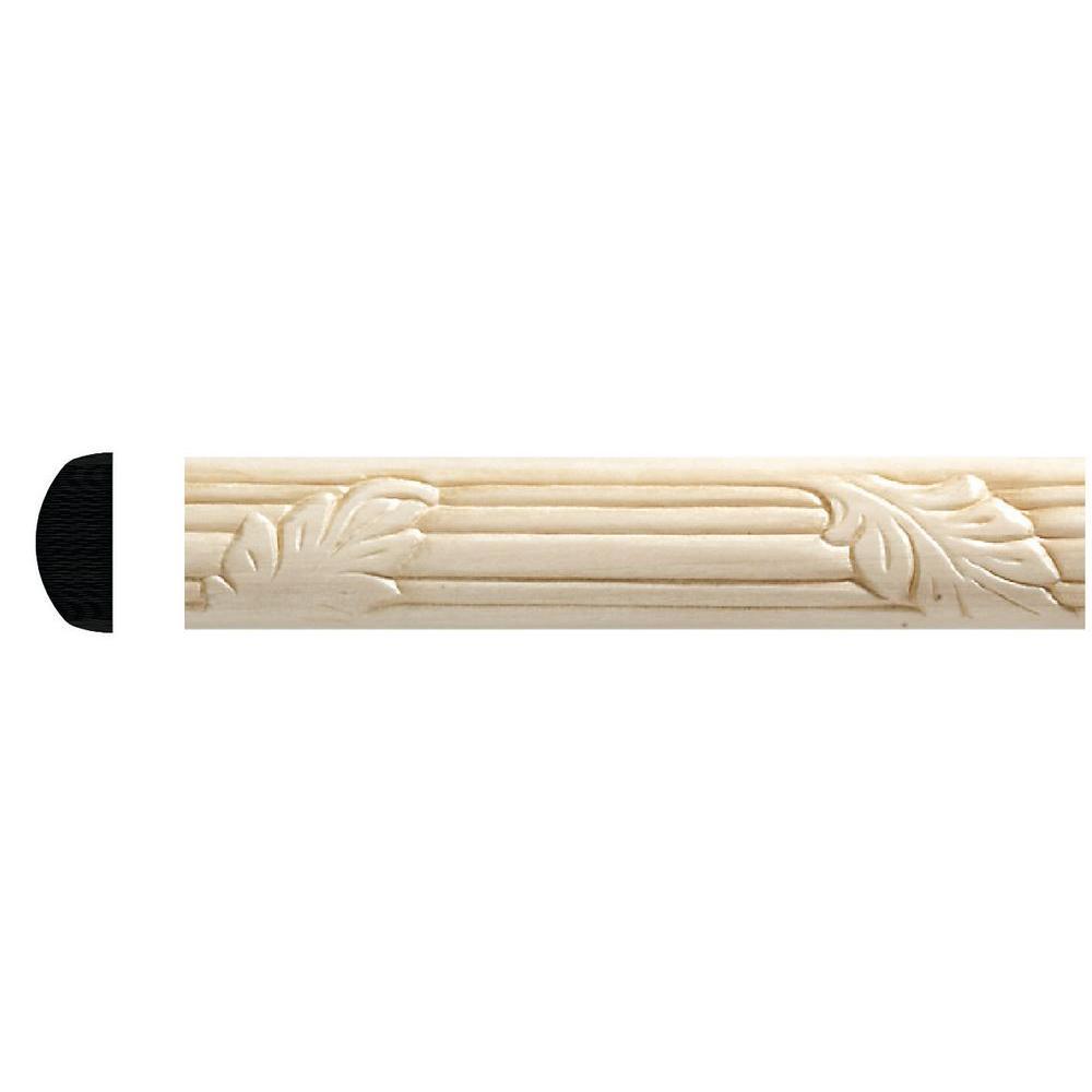 1167-8 3/8 in. x 7/8 in. x 96 in. White Hardwood Embossed Oak Leaf Moulding