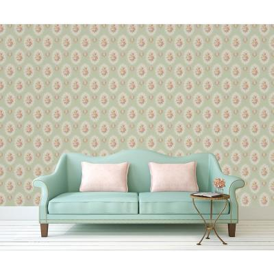 56.4 sq. ft. Elda Green Cameo Wallpaper