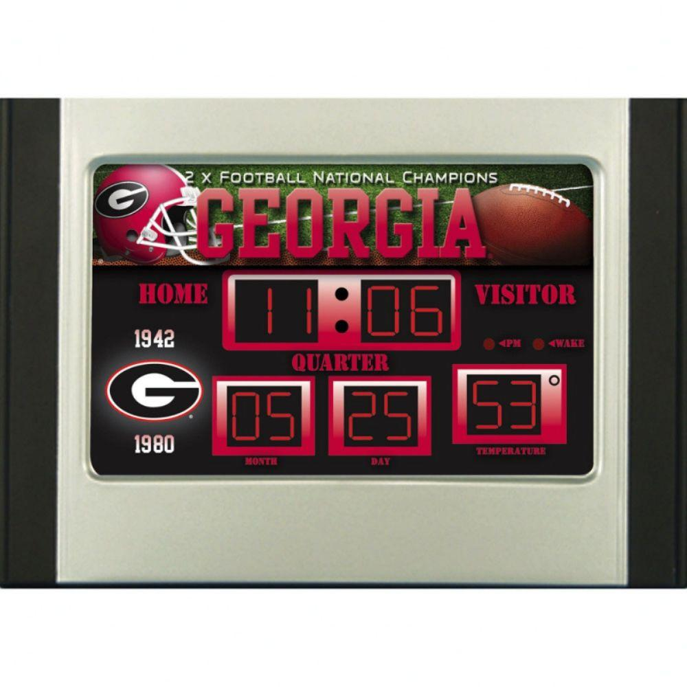 null University of Georgia 6.5 in. x 9 in. Scoreboard Alarm Clock with Temperature