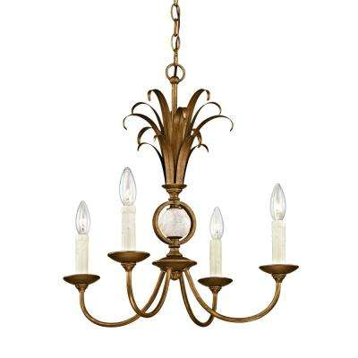 Pinnacle 4-Light Burnished Gold Pendant with Marble Accent
