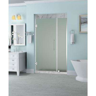 Belmore 44.25 in. to 45.25 in. x 72 in. Frameless Hinged Shower Door with Frosted Glass in Chrome