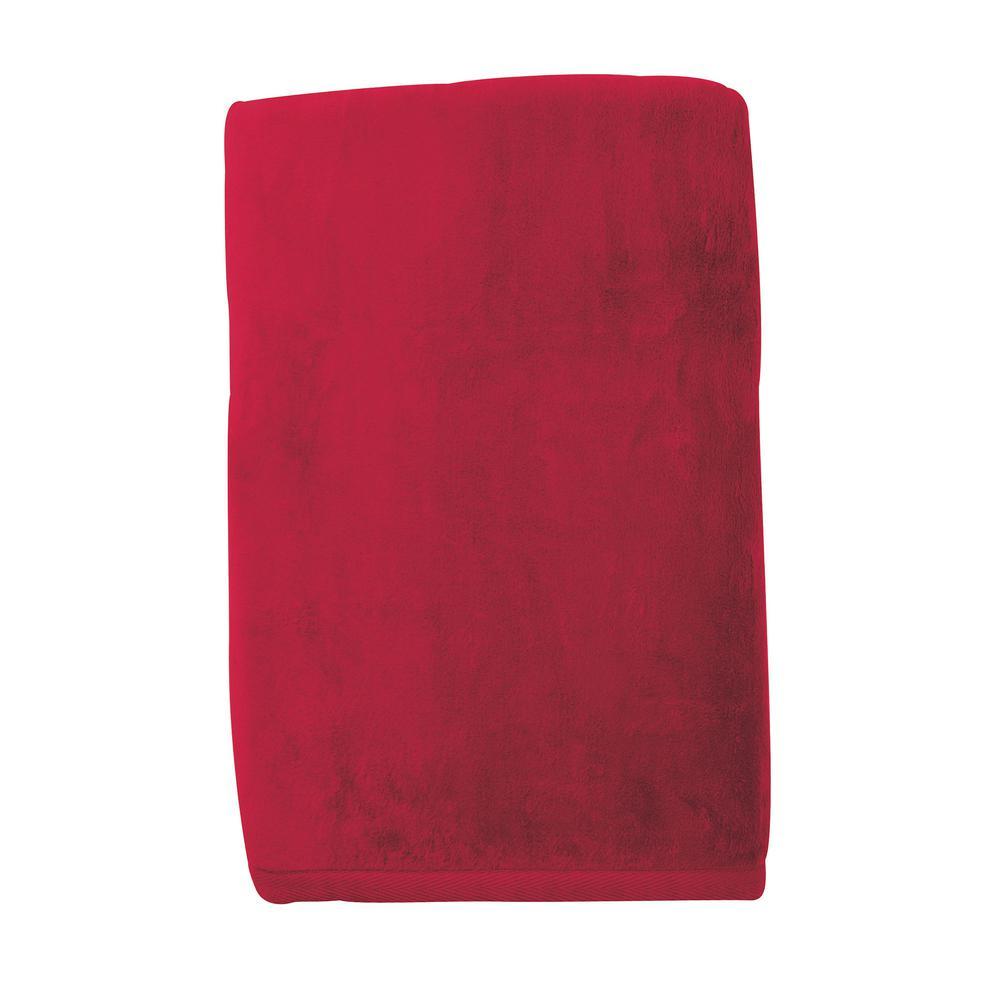 Cotton Fleece Ruby Woven Throw