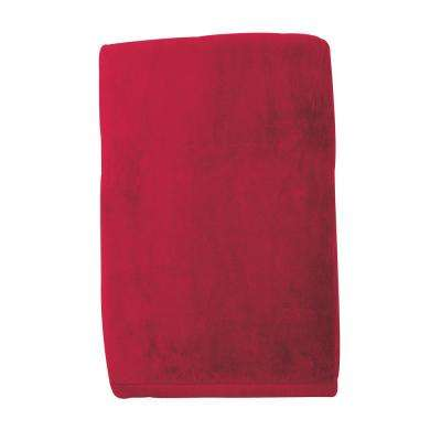 Cotton Fleece Ruby Woven Throw