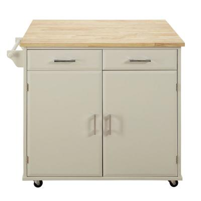 Townville Polar White Kitchen Cart with Drop Leaf