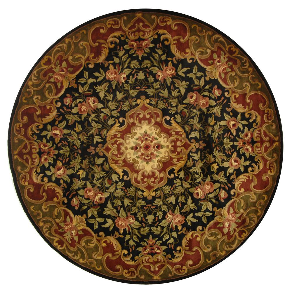 Safavieh Classic Black/Green 6 Ft. X 6 Ft. Round Area Rug