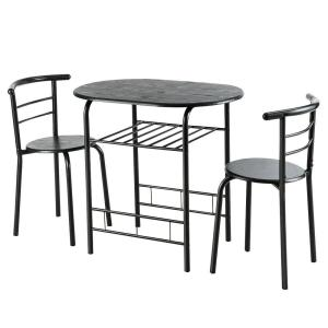Costway 3 Pcs Dining Set Table and 2 Chairs Compact Bistro ...