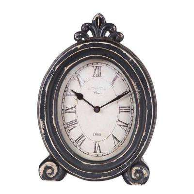 Paris 1885 13.5 in. H x 10.5 in. W Oval Distressed Desk Clock