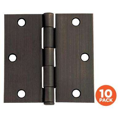 3-1/2 in. Square Corner Oil Rubbed Bronze Door Hinge Value Pack (10 per Pack)