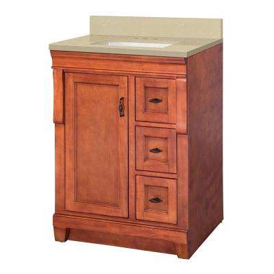 Naples 25 in. W x 22 in. D Vanity in Warm Cinnamon with Engineered Marble Vanity Top in Crema Limestone with White Sink