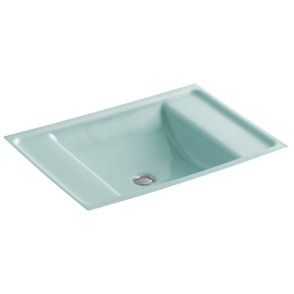 Kohler Ledges Undermount Cast Iron Bathroom Sink In Vapour Green With Overflow Drain K 2838 Kg