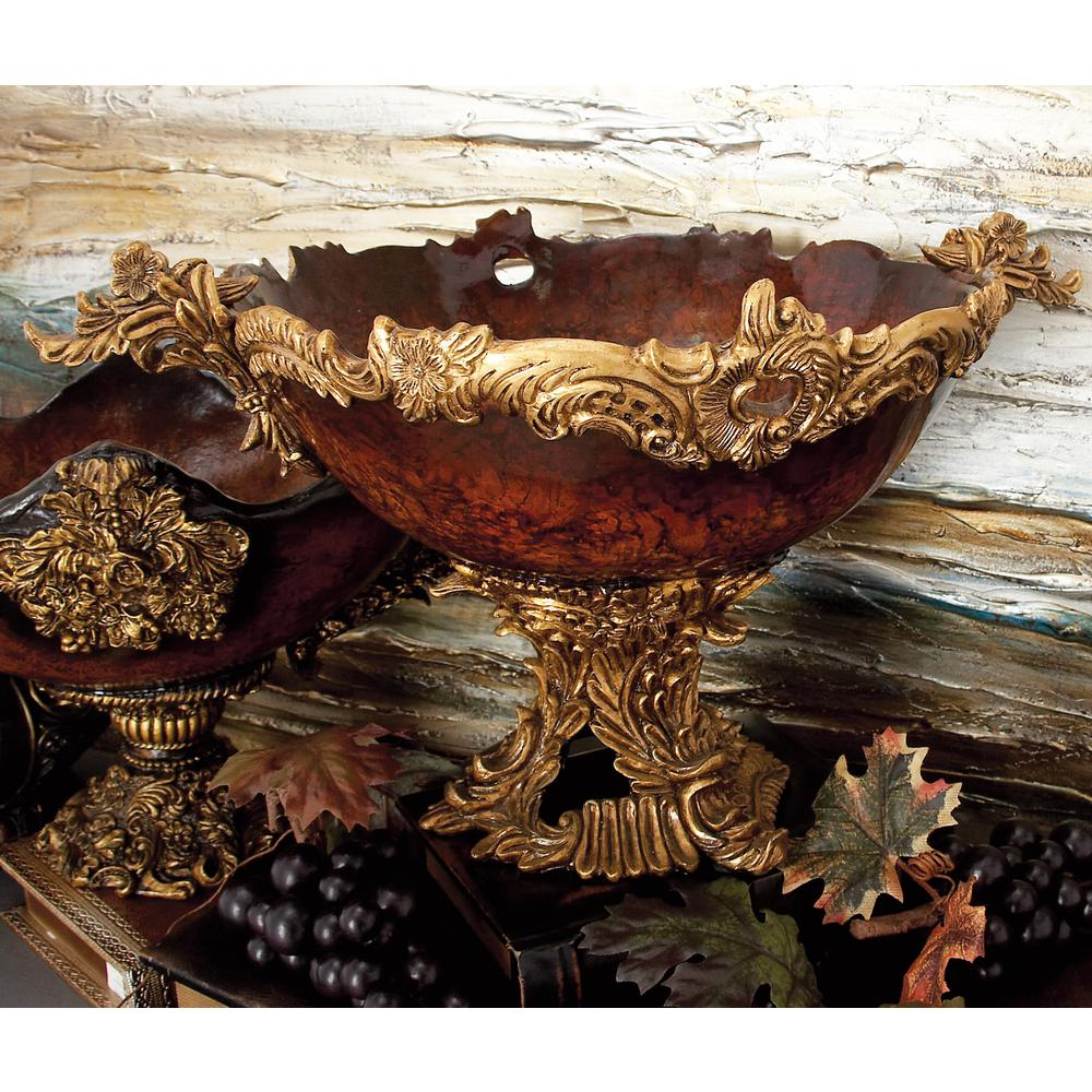 19 in. x 11 in. Flourished Amber and Gold Decorative Bowl