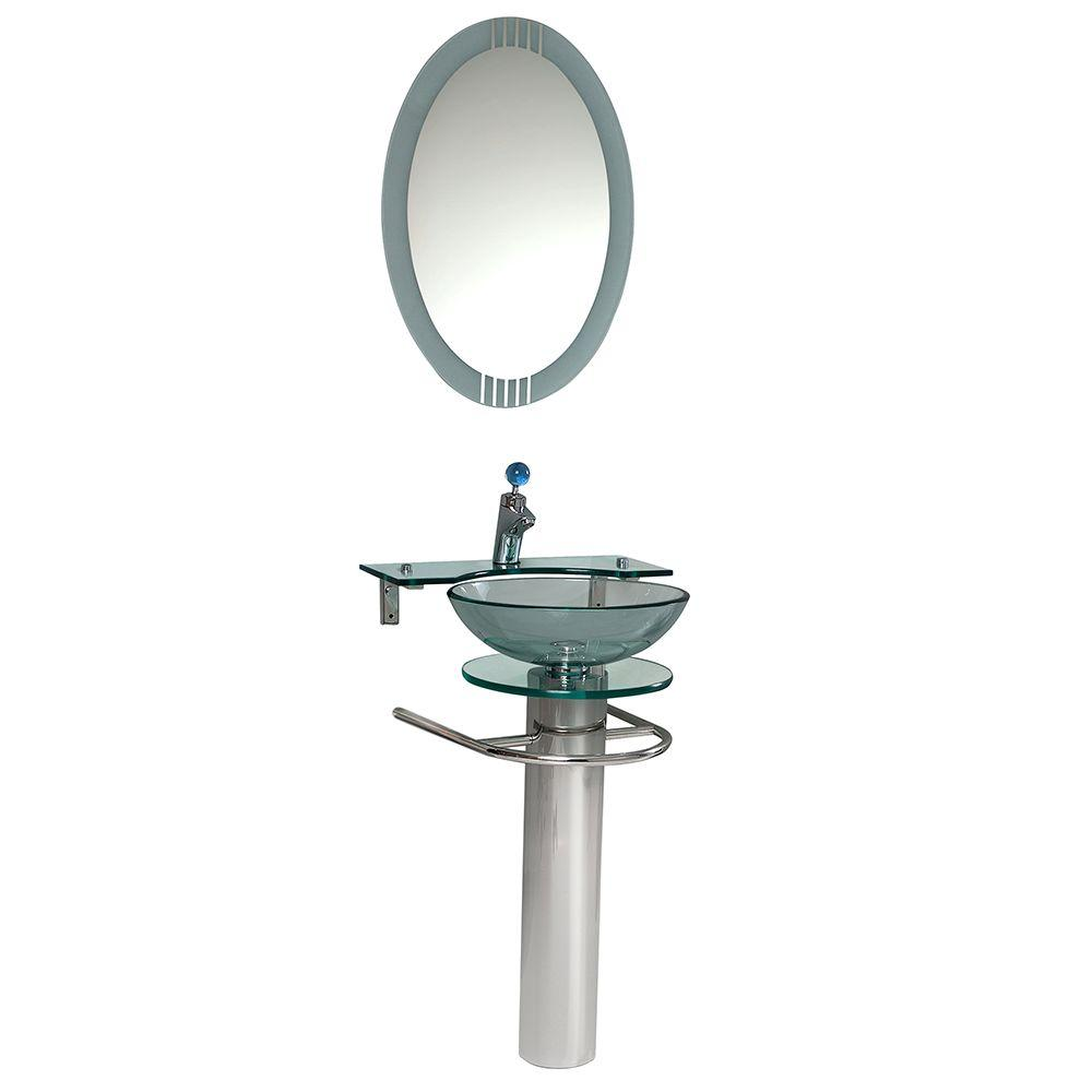 Fresca Ovale Vessel Sink in Clear Glass with Stand in Chr...