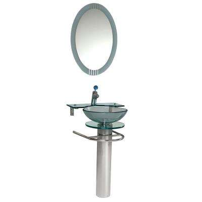 Ovale Vessel Sink in Clear Glass with Stand in Chrome and Frosted Edge Mirror